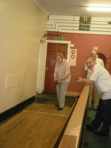 Members of YogaMobility playing skittles